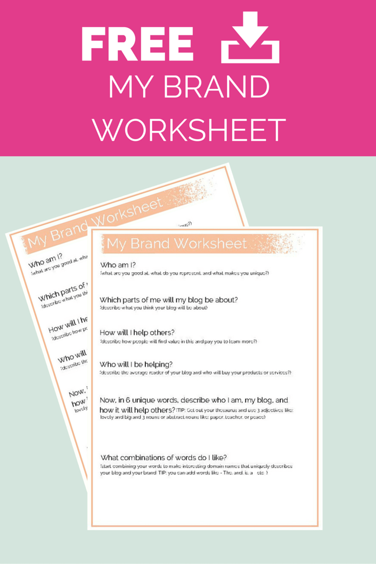 DOMAINS AND MY BRAND WORKSHEET FREE PINTEREST IMAGE