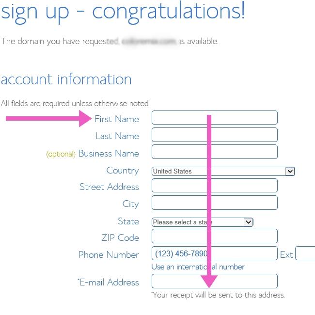 Start-a-blog-enter-your-account-info