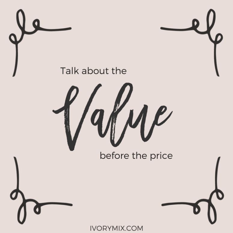 How to price digital products. Business and Sales Advice, talk about your products value before you talk about price.