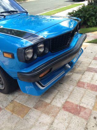 1977 Mazda RX-3 SP blue chin spoiler