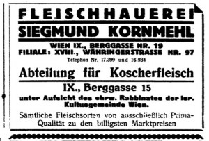 Butcher shop Fleischhauerei Siegmund Kornmehl ad (from Freud's butcher)