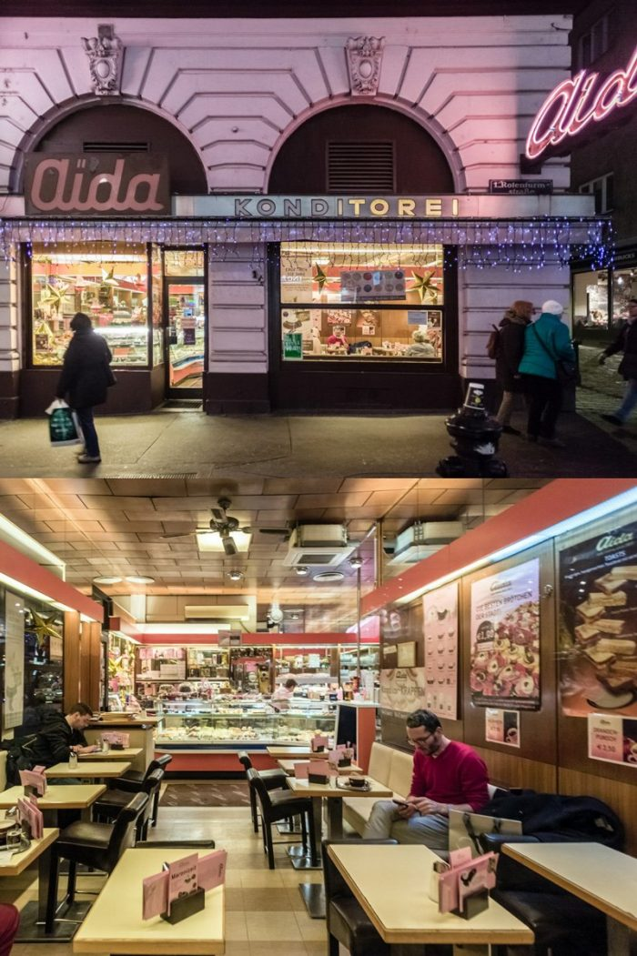 The characteristic pink, 1950's exterior and interior of an Aida Konditorei on Rotenturmstrasse in Vienna. (This branch, unfortunately, closed permanently in winter 2016/17.)