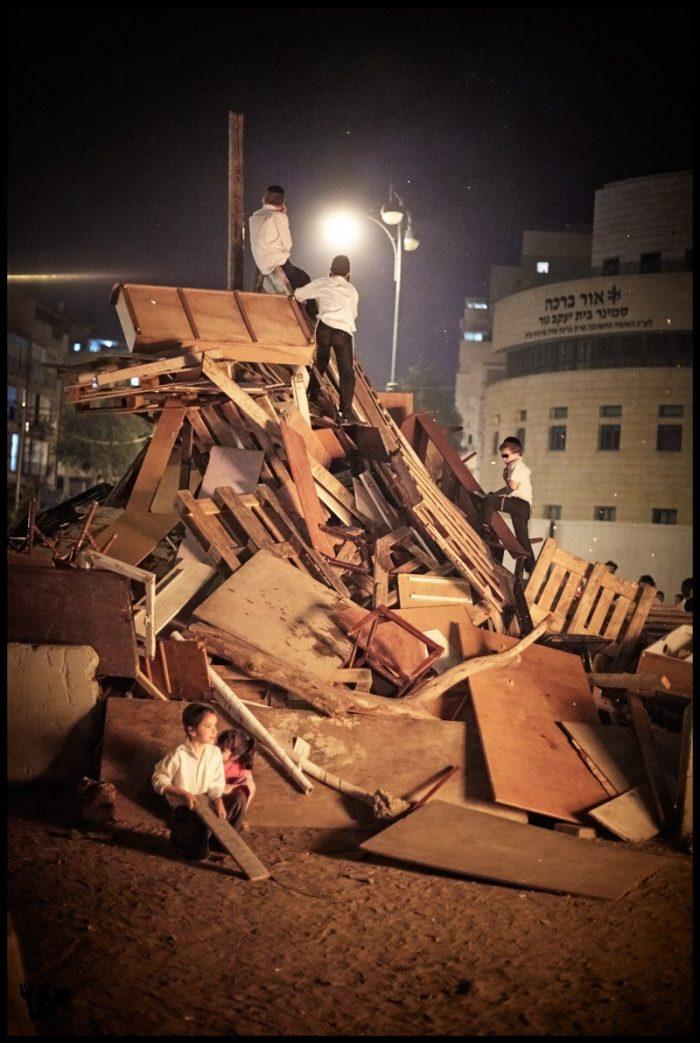 Lag Baomer Bonfires in Bnei Brak Israel