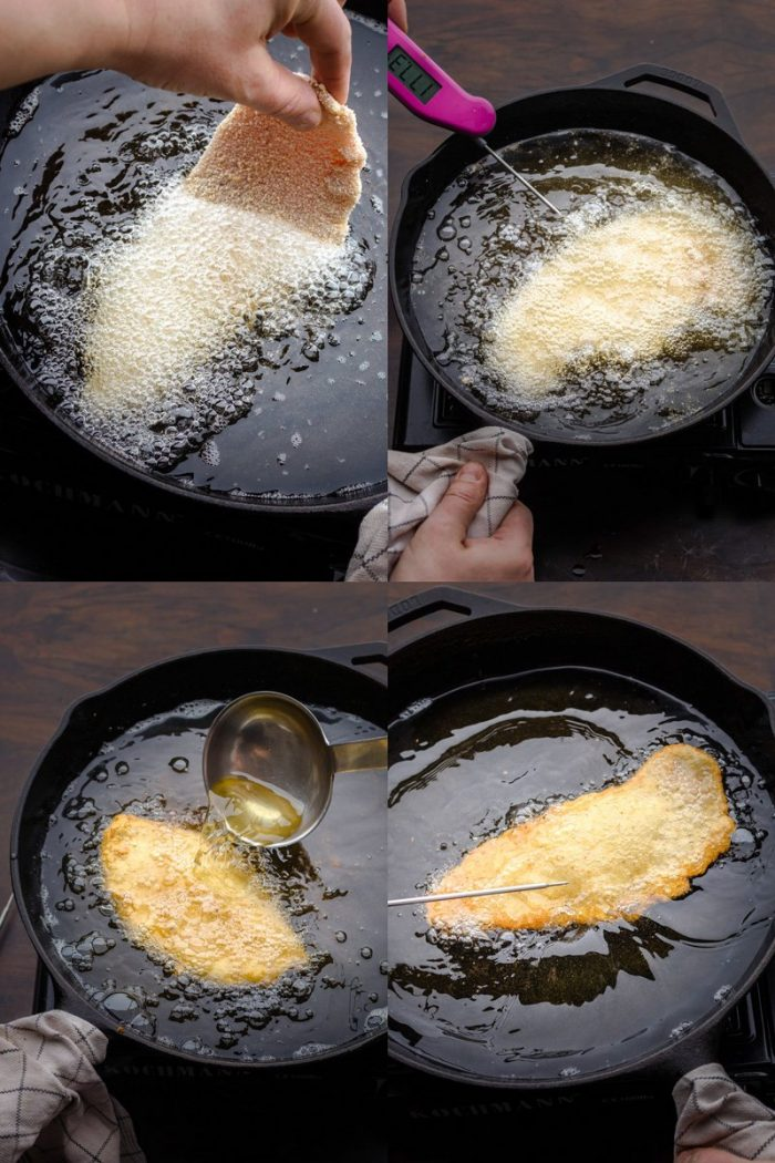 To get a dry Wiener schnitzel, fry it in at least 1 inch of oil at 350°F (175°C) and don't stop shaking the skillet in a circular motion (or if you are scared, use a ladle to pour hot oil over the top).