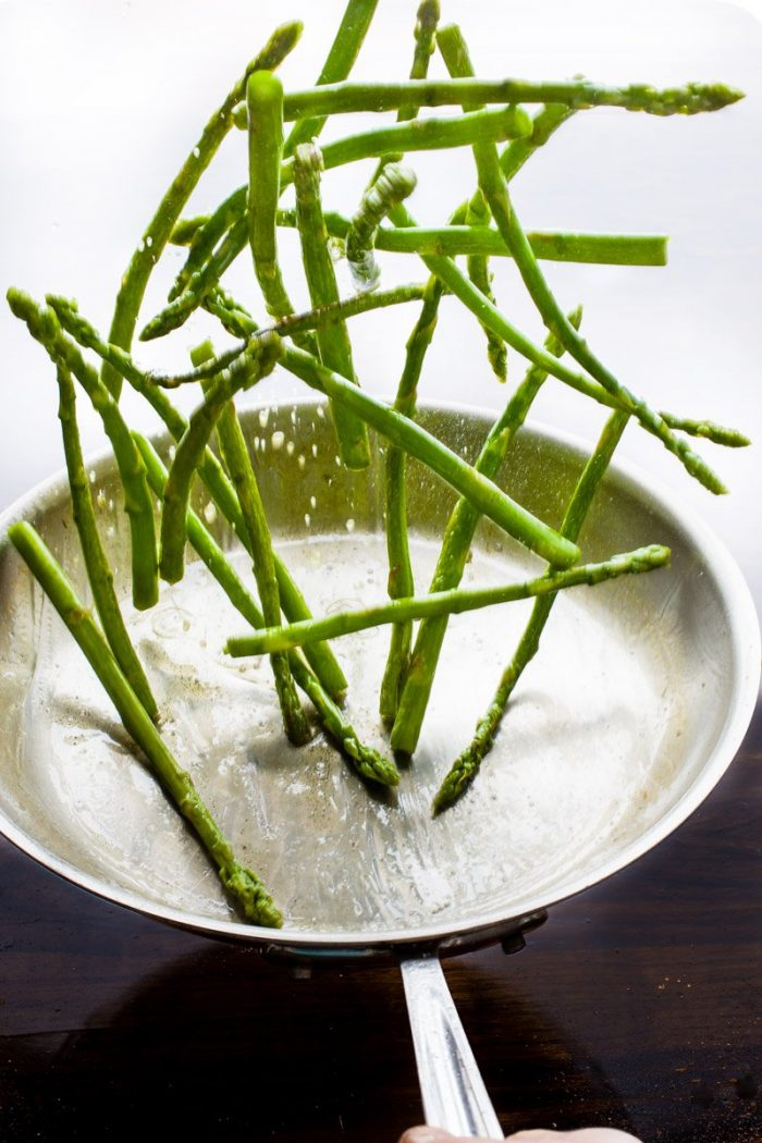 Quickly sautée the green asparagus in some olive oil, chili flakes and a pinch of salt.