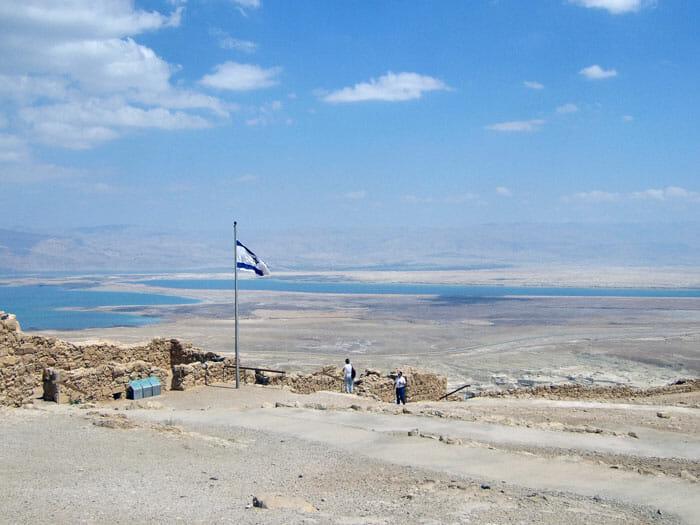 Masada with Flog of Israel and-Yam-HaMelach (Dead Sea)