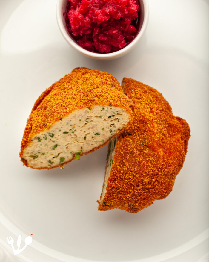 """Fried """"gefilte fish"""", carp with fines herbes, """"Fischscheiben"""" in German, with red """"chrain,"""" sweet beet horseradish relish. This is a completely assimilated """"gefilte fish"""" dish out the Freuds' """"Kochbuch der Deutschen Schule in Prag."""""""