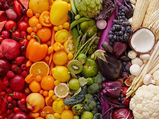 red, orange, yellow, green, purple, and white foods organized by color