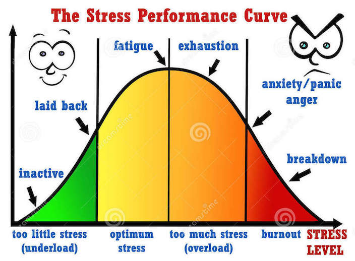 """Image Text: """"The Stress Performance Curve: inactive/laid back = too little stress (underload); optimum stress that, when continues to rise, points to fatigue; exhaustion = too much stress (overload); anxiety/panic, anger leading to breakdown = burnout"""""""