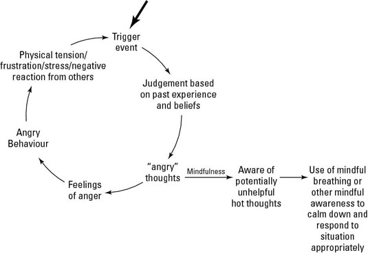 """Trigger event - Judgement based on past experience and beliefs - """"angry"""" thoughts - feelings of anger - angry behavior - physical tension/frustration/stress/negative reaction from others - """"angry"""" thoughts - mindfulness - aware of potentially unhelpful hot thoughts - use of mindful breathing or other mindful awareness to calm down and respond to situation appropriately"""