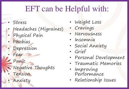 EFT can be helpful with: stress, headaches migraines), physical pain, phobias, depression, fear, panic, negative thoughts, tension, anxiety, weight loss, cravings, nervousness, insomnia, social anxiety, grief, personal development, traumatic memories, improving performance, relationship issues