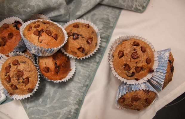 Healthy Dark Chocolate Blueberry Banana Oat Muffins from Running with Spoons