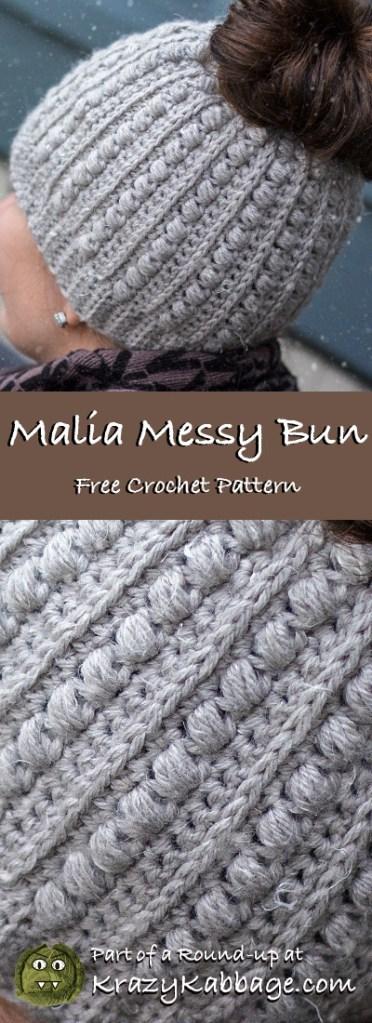48b4a7d3f442 Messy Bun Beanie Hat Free Crochet Patterns – Krazy Kabbage