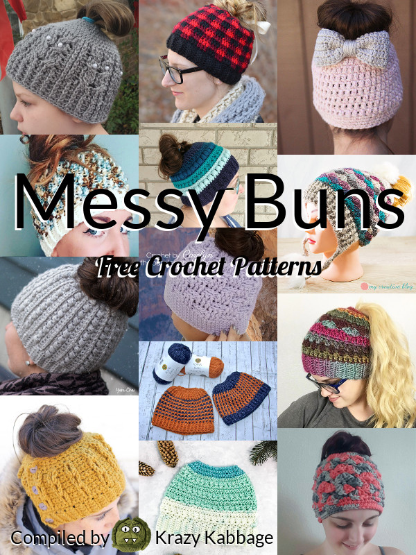 728c1494b97e8 Messy Bun Beanie Hat Free Crochet Patterns – Krazy Kabbage