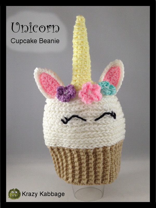 Unicorn Cupcake Beanie Hat Free Crochet Pattern Krazy Kabbage