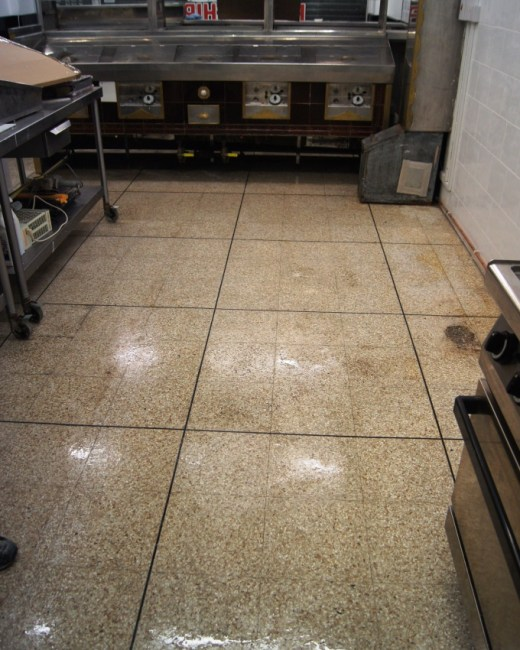 Terrazzo Tile at Wigan Fish and Chip Shop Completed