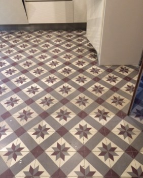 Encaustic Cement Tile Before Cleaning at the French Chateaux Reims