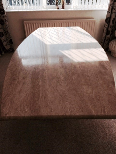 Travertine Table Top After Restoration Preston