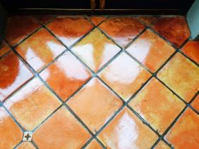 Terracotta conservatory floor after cleaning Garstang