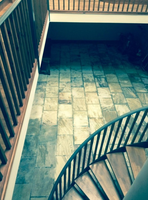 Indian sandstone floor Lancashire during restoration