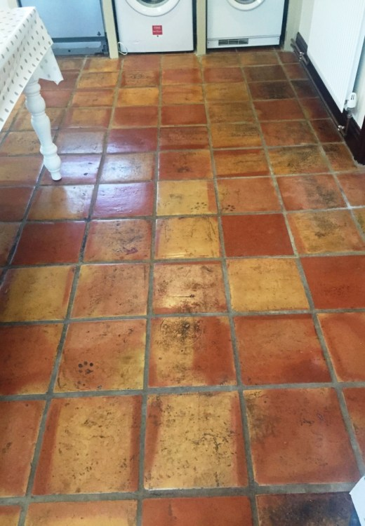 Mexican Terracotta Kitchen Floor Ormskirk Before Cleaning