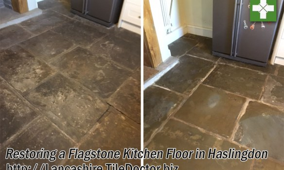 Flagstone Floor Before and After Milling Haslingden
