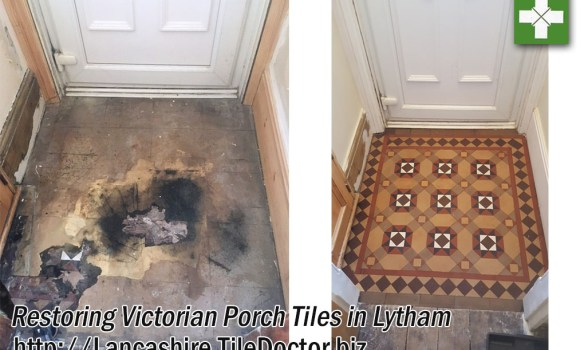 Victorian Tiled Porch Before and After Restoration Lytham