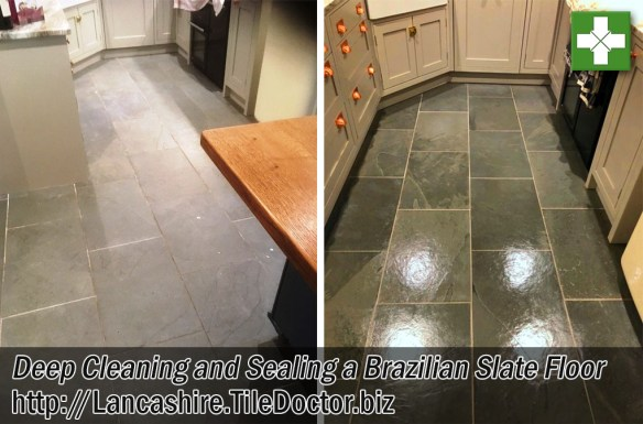 Brazilian Slate Tiled Kitchen Floor Before and After Restoration Hornby