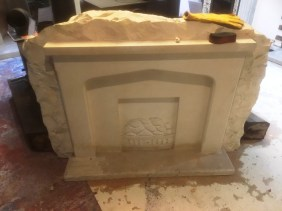 Floor Damaged Limestone Fireplace Hearth Before Cleaning