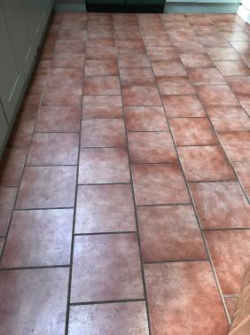 Ceramic Tiled Kitchen Floor Before Grout Colouring Ulverston