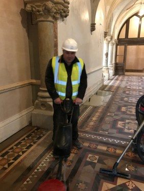 Victorian Tiled Stone Cross Manor Hall During Restoration