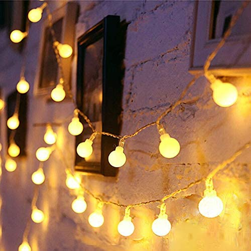 Yinuo Mirror LED String Lights, 49ft 100 LEDs Globe String Lights Plug in Waterproof Extendable Fairy Lights with 8 Mode Decoration for Indoor Outdoor Wedding Birthday Party, Warm White