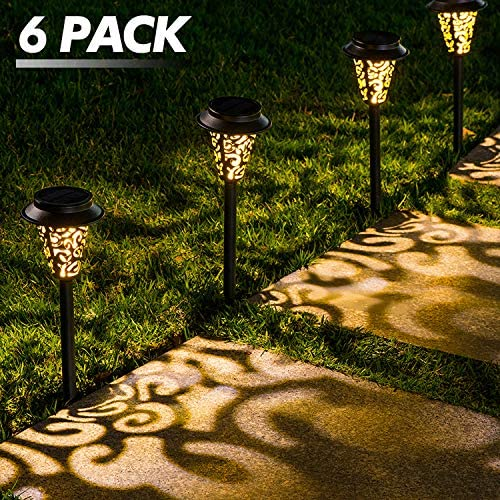 LeiDrail Solar Pathway Lights Outdoor Garden Path Light Warm White LED Black Metal Stake Landscape Lighting Waterproof Decorative for Yard Patio Walkway Lawn In-Ground Spike – 6 Pack