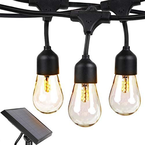 Brightech Ambience Pro Solar – 27 Ft Edison Bulb Outdoor String Lights – Hanging 2W LED Patio Lights Create Old Italian Market Look & Feel In Your Yard – Commercial Grade Waterproof & Weatherproof