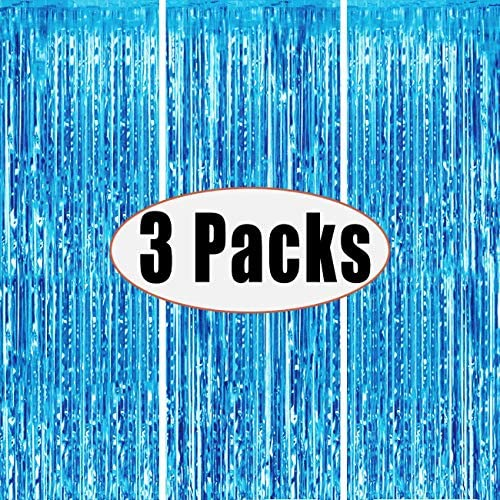 3 Packs 3.2ft x 6.6ft Light Blue Metallic Tinsel Foil Fringe Curtains Photo Booth Props for Birthday Wedding Engagement Bridal Shower Baby Shower Bachelorette Holiday Celebration Party Decorations