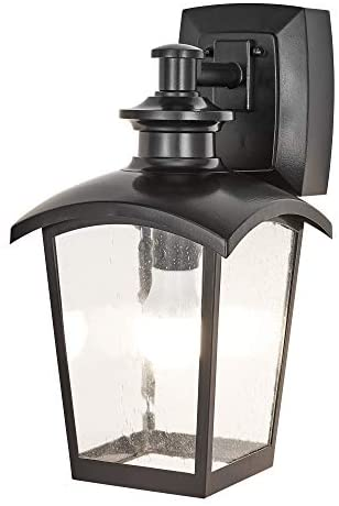 Home Luminaire 31703 Spence 1-Light Outdoor Wall Lantern with Seeded Glass and Built-in GFCI Outlets, Black