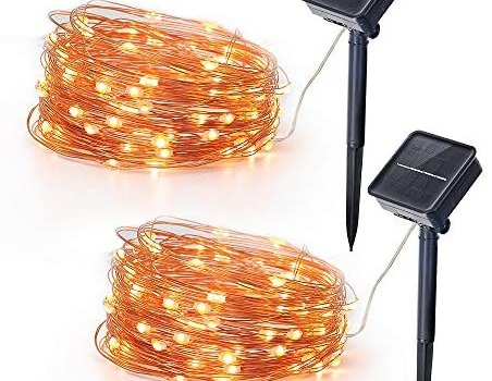 Solar Panel LED Fairy Lights Outdoors Waterproof Led String Lights 32.8FT 3V 100 LED Twinkle Fairy Lights for Patio, Garden, Gate, Yard, Party, Wedding, Christmas (2 Pack)
