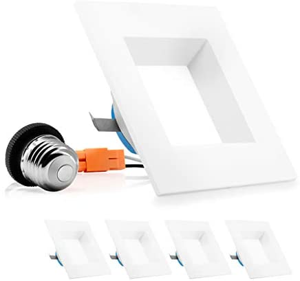 PARMIDA 4 inch Dimmable LED Square Recessed Retrofit Lighting, Easy Downlight Installation, 9W (65W Eqv.), 600lm, Ceiling Can Lights, Energy Star & ETL-Listed, 5 Year Warranty, 5000K – 4 Pack
