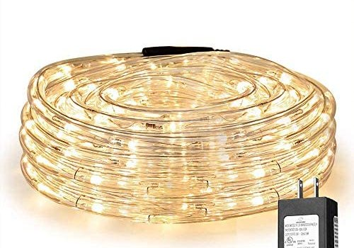 LE 33ft 240 LED Rope Light, Waterproof, Connectable, Low Voltage, Warm White, Indoor Outdoor Clear Tube Light Rope and String for Deck, Patio, Pool, Camping, Bedroom Decor, Landscape Lighting and More