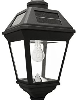 Gama Sonic GS-97B-F Imperial Bulb Light Outdoor Solar Lamp, 3″ Post Fitter Mount, (Warm White LED, Black