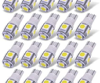 YITAMOTOR 20X T10 Wedge 5-SMD 5050 White LED Light Bulbs W5W 2825 158 192 168 194 Interior Reading Dome Map Cargo Trunk Door Doorstep Courtesy License Plate Side Marker Light