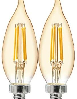 GE Lighting Vintage Amber Glass 60W Replacement LED Light Bulbs, Bent Tip, 2-Pack, Warm Candle, Dimmable Chandelier Light Bulbs, Candelabra Base