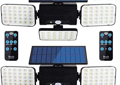 Solar Lights Outdoor with Motion Sensor, highydroLED Adjustable 3 Heads Solar Powered Light,90 LED Flood Light, IP65 Waterproof Security Light with Remote Control for Garage Yard Patio, 2 Pack