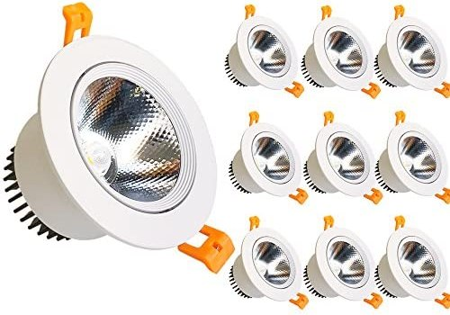 LightingWill LED Downlight 9W Dimmable Warm White 3000K-3500K CRI80 COB Directional Recessed Ceiling Light Cut-Out 3.35in (85mm) 60 Beam Angle 80W Halogen Bulbs Equivalent 10 Pack