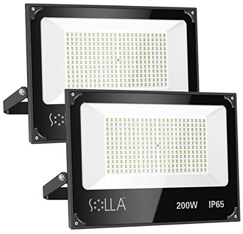 2 Pack SOLLA 200W Led Flood Light, 16000lm 6000K Daylight White Security Light Exterior Flood Lighting, Outdoor Indoor Lighting Fixture Landscape Floodlight Spotlight for Yard, Garden, Garage, Rooftop