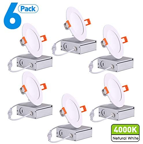 JARLSTAR 6 Pack 4 inch Ultra-Thin LED Recessed Ceiling Light with Junction Box, 9W=45W,4000K Cool White 580Lm, Slim LED Downlight High Brightness Can-Killer Downlight, CRI80+