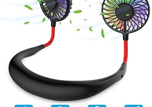 Hands Free Portable Neck Fan – Rechargeable Mini USB Personal Fan Battery Operated with 3 Level Air Flow, 7 LED lights for Home Office Travel Indoor Outdoor (Black)