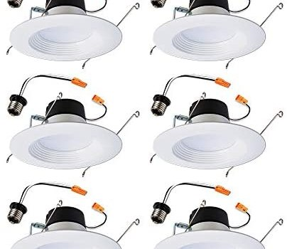 Halo LT560WH6930R-6PK LT 5 in. and 6 in. White Ceiling Light Fixture Retrofit Downlight Trim, 90 CRI, 3000K Soft (6 Pack) Recessed Integrated LED