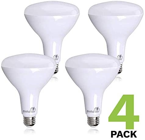 4 Pack Brightest BR40 LED Bulbs by Bioluz LED – Instant ON Warm LED Energy Saving Bulbs, 17w (120w Replacement) 2700k Bulb 1400 Lumen, Indoor/Outdoor Smooth Dimmable Lamp UL Listed