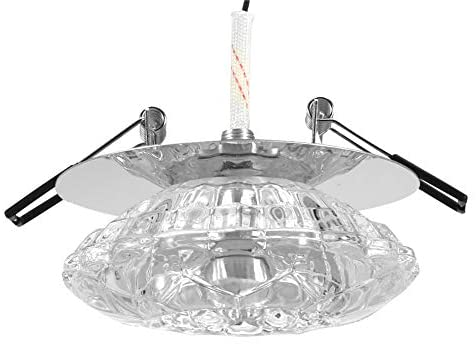 riuty LED Ceiling Downlight, 3W LED Crystal Downlight Recessed Spotlight Lighting Fixture Crystal Lampshade Home Decoration Opening 5-8cm (White)
